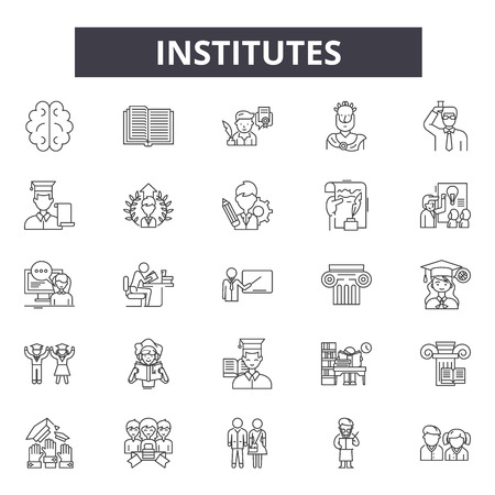 Institutes line icons, signs set, vector. Institutes outline concept illustration: building,school,bank,college,university,institute,isolated