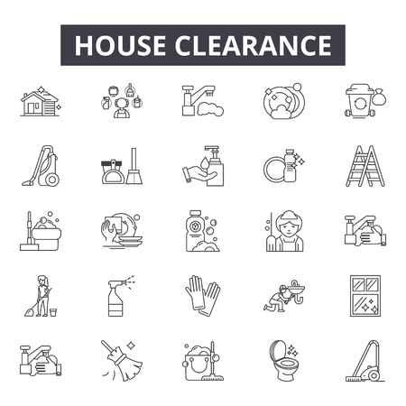 House clearance line icons, signs set, vector. House clearance outline concept illustration: clearance,house,outcollection Illustration