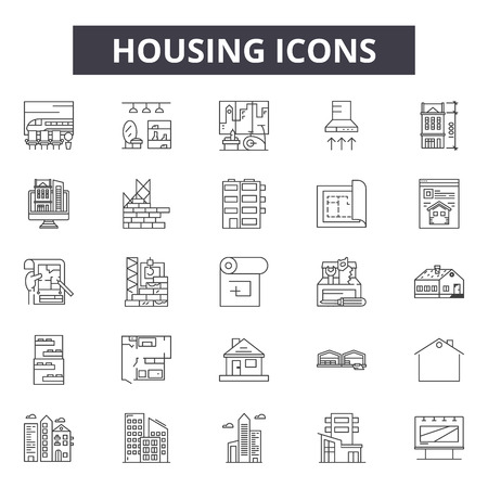 Housing line icons, signs set, vector. Housing outline concept illustration: home,house,building,residential,estate,real,architecture Ilustração