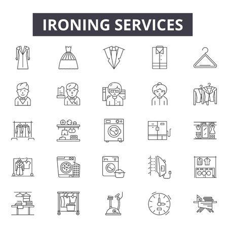 Ironing services line icons, signs set, vector. Ironing services outline concept illustration: iron,service,hotel,room,bath,travel Stock Vector - 120896557