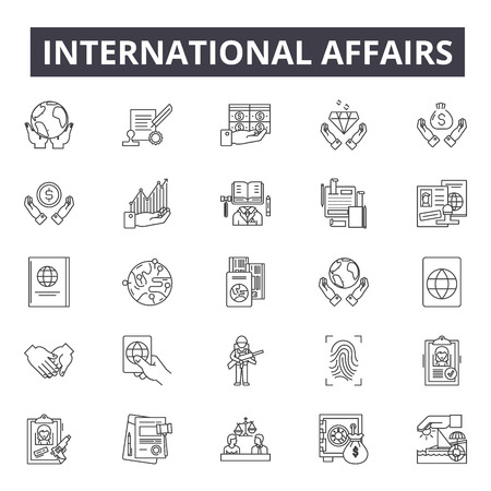 International affairs line icons, signs set, vector. International affairs outline concept illustration: international,business,affair,exchange,flat,global,single Illusztráció