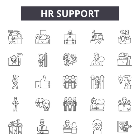 Hr support line icons, signs set, vector. Hr support outline concept illustration: support,hr,business,customer,service,time