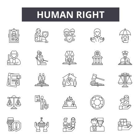 Iconos de la línea derecha humana, conjunto de signos, vector. Ilustración del concepto de esquema de derechos humanos: humano, deconcept, personas, mano