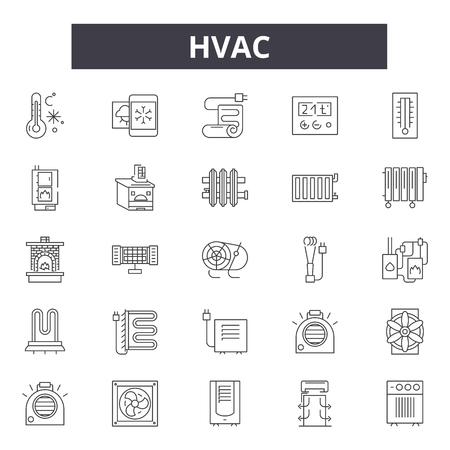 Hvac-Liniensymbole, Zeichensatz, Vektor. Hvac-Umrisskonzeptillustration: HVAC, Luft, Ventilator, Lüftung, Klimaanlage, Klima, Ventilator