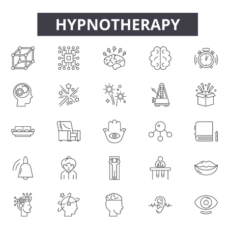 Iconos de línea de hipnoterapia, conjunto de signos, vector. Ilustración del concepto de esquema de hipnoterapia: hipnoterapia, hipnosis, espiral, psicología, línea