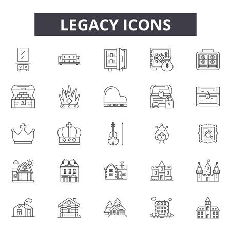 레거시 라인 아이콘, 표시 설정, 벡터입니다. 레거시 개요 개념 그림: 레거시, 절연, 금융, 디자인