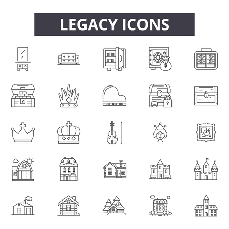 Legacy line icons, signs set, vector. Legacy outline concept illustration: legacy,isolated,finance,design