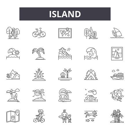 Island line icons, signs set, vector. Island outline concept illustration: island,tropical,sea,palm,summer,travel Vecteurs