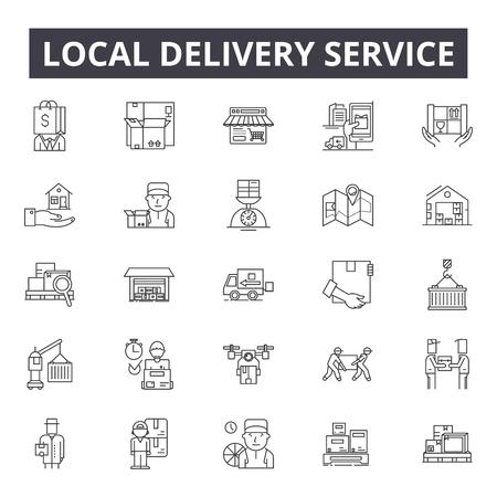 Icone della linea di servizio di consegna locale, set di segni, vettore. Illustrazione del concetto di struttura del servizio di consegna locale: servizio, consegna, affari, locale, corriere, consegna rapida, online