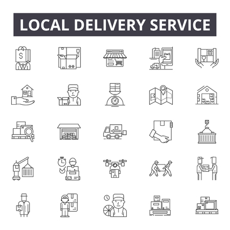 Local delivery service line icons, signs set, vector. Local delivery service outline concept illustration: service,delivery,business,local,courier,defast,online 向量圖像