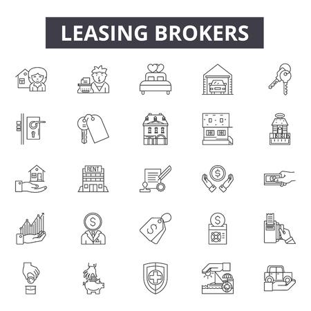 Iconos de línea de corredores de arrendamiento, conjunto de signos, vector. Ilustración del concepto de esquema de corredores de arrendamiento: propiedad, corredor, edificio, arrendamiento, hogar, casa, negocio, inversión, real Ilustración de vector