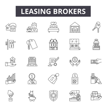 Leasing brokers line icons, signs set, vector. Leasing brokers outline concept illustration: property,broker,building,lease,home,house,business,investment,real Ilustrace