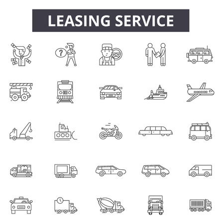 Leasing service line icons, signs set, vector. Leasing service outline concept illustration: service,car,debusiness,element,leasing,transport Stock Illustratie