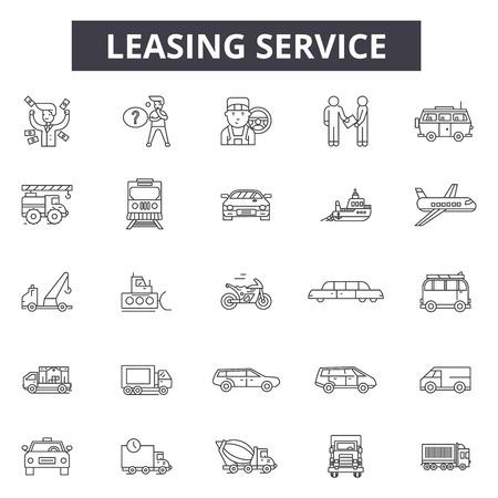Leasing service line icons, signs set, vector. Leasing service outline concept illustration: service,car,debusiness,element,leasing,transport Illustration