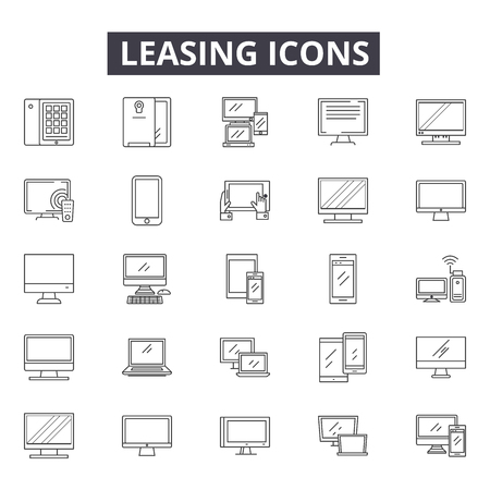 Leasing line icons, signs set, vector. Leasing outline concept illustration: lease,home,contract,house,sale,real,estate