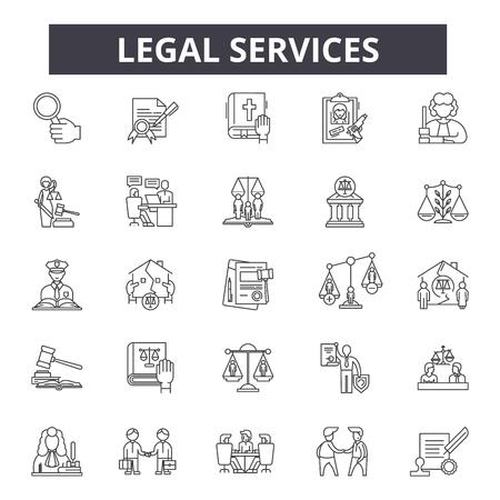 Rechtsdienstleitungssymbole, Zeichensatz, Vektor. Juristische Dienstleistungen skizzieren Konzeptillustration: Recht, Recht, Dienstleistungen, Geschäft, Anwalt, Justiz, Rechtsanwalt, Gericht