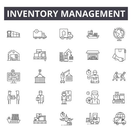 Iconos de línea de gestión de inventario, conjunto de signos, vector. Ilustración del concepto de esquema de gestión de inventario: inventario, gestión, almacén, negocio, entrega, almacenamiento, producto Ilustración de vector