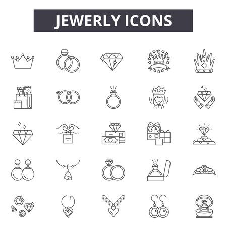 Jewerly Liniensymbole, Zeichensatz, Vektor. Jewerly Umrisskonzept Illustration: Diamant, isoliert, Schmuck, Weiß, Schmuck