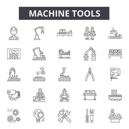 Machine tools line icons, signs set, vector. Machine tools outline concept illustration: machine,industry,tool,equipment,industrial,engineering,factory,technology