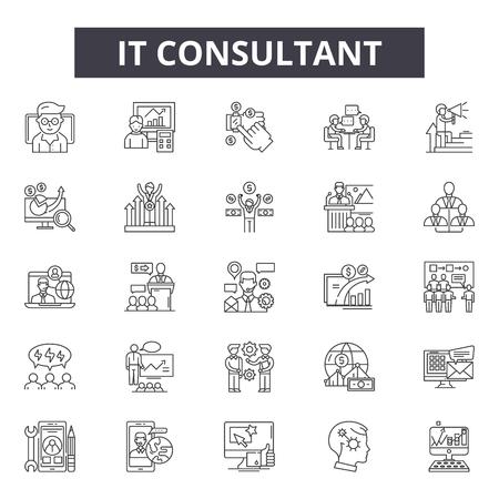 Icone della linea di consulente, set di segni, vettore. Illustrazione del concetto di contorno del consulente IT: affari, consulenza, comunicazione, supporto, servizio, squadra
