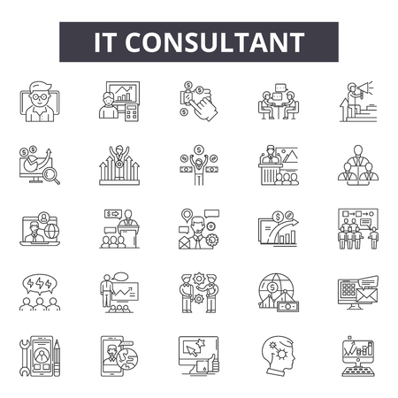 To ikony linii konsultanta, zestaw znaków, wektor. To konsultant zarys koncepcji ilustracji: biznes, doradztwo, komunikacja, wsparcie, usługa, zespół