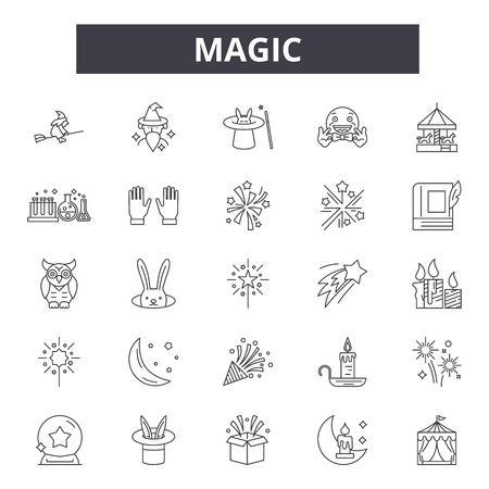 Magic line icons, signs set, vector. Magic outline concept illustration: magic,magician,star,isolated