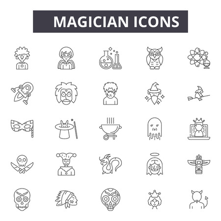 Magician line icons, signs set, vector. Magician outline concept illustration: magician,magic,hat,wand,isolated,trick