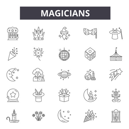 Magicians line icons, signs set, vector. Magicians outline concept illustration: magician,hat,magic,wand,trick,isolated