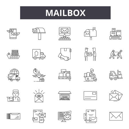 Icônes de ligne de boîte aux lettres, ensemble de signes, vecteur. Illustration de concept de contour de boîte aux lettres : boîte aux lettres, courrier, courrier, enveloppe, lettre, e-mail, isolé