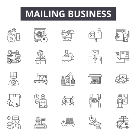 Mailing business line icons, signs set, vector. Mailing business outline concept illustration: business,mail,internet,web,computer,message Illusztráció