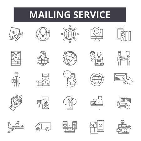 Mailing service line icons, signs set, vector. Mailing service outline concept illustration: service,mail,business,web,support