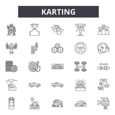 Karting line icons, signs set, vector. Karting outline concept illustration: kart,karting,motor,cart,drive,race Illustration