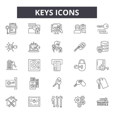 Keys line icons, signs set, vector. Keys outline concept illustration: lock,key,safe,security,unlock Illustration