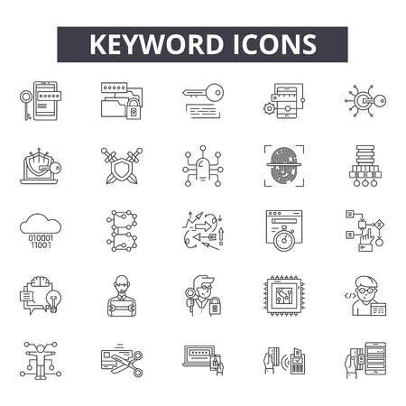 Keyword line icons, signs set, vector. Keyword outline concept illustration: keyword,search,web,internet,seo,optimization