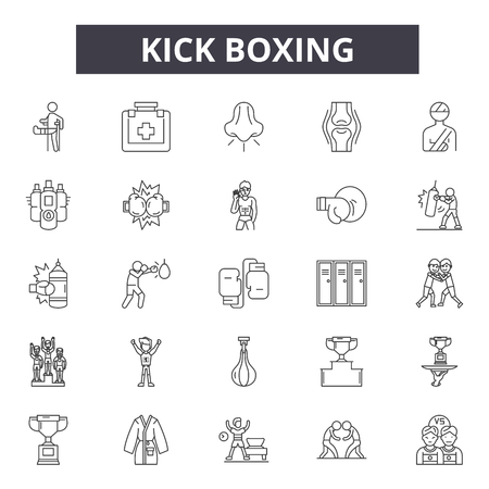 Kick boxing line icons, signs set, vector. Kick boxing outline concept illustration: boxing,training,kick,fight,sport,fighter,boxer