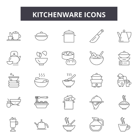 Kitchenware line icons, signs set, vector. Kitchenware outline concept illustration: kitchenware,kitchen,cooking,food,pot,spoon
