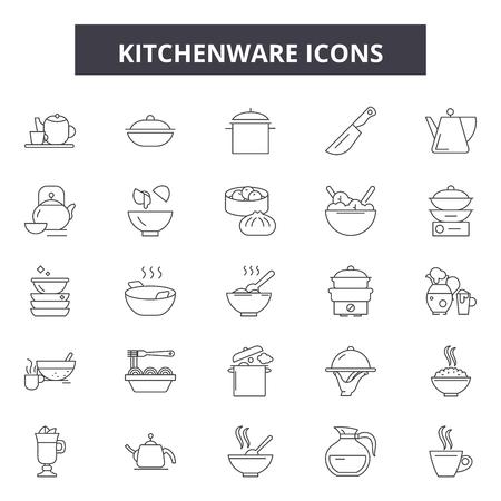 Kitchenware line icons, signs set, vector. Kitchenware outline concept illustration: kitchenware,kitchen,cooking,food,pot,spoon
