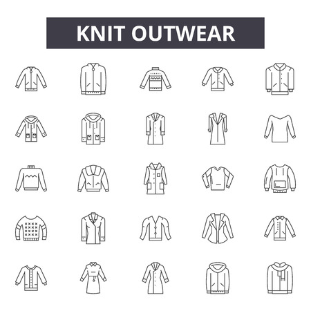 Knit outwear line icons, signs set, vector. Knit outwear outline concept illustration: fashion,casual,knitted,isolated,winter,jacket,clothing,coat