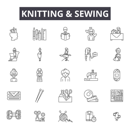 Knitting and sewing line icons, signs set, vector. Knitting and sewing outline concept illustration: sewing,needle,thread,pin,textile,fashion,tailor Illustration