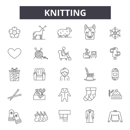 Knitting line icons, signs set, vector. Knitting outline concept illustration: craft,yarn,wool,thread,sewing,needle Illustration
