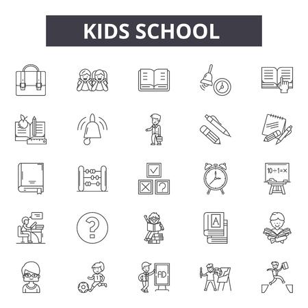 Icone della linea di scuola per bambini, set di segni, vettore. Illustrazione di concetto del profilo della scuola dei bambini: scuola, educazione, libro, bambino, autobus Vettoriali
