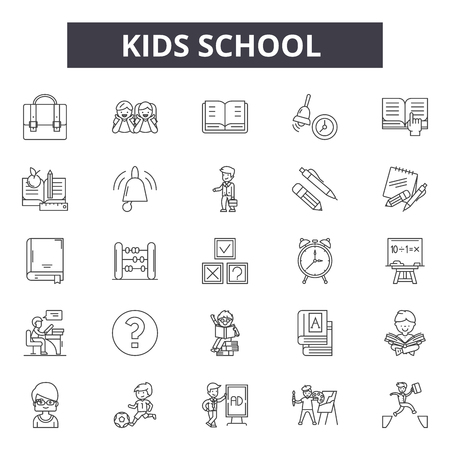 Kids school line icons, signs set, vector. Kids school outline concept illustration: school,education,book,kid,bus