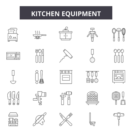 Kitchen equipment line icons, signs set, vector. Kitchen equipment outline concept illustration: kitchen,equipment,cooking,food,household,oven Standard-Bild - 120896723