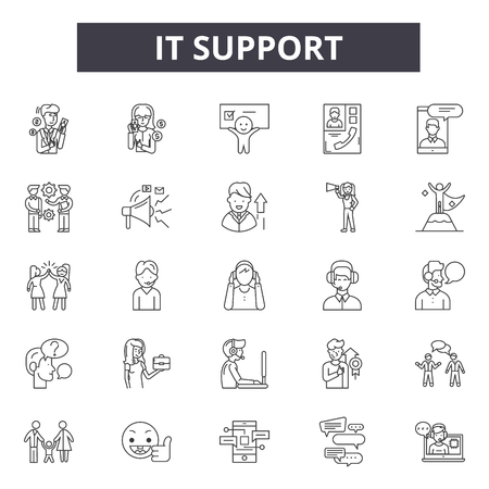 It support line icons, signs set, vector. It support outline concept illustration: support,service,customer,help,contact,technical