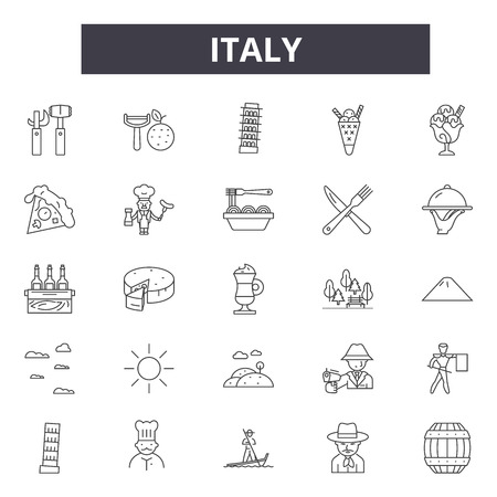 Italy line icons, signs set, vector. Italy outline concept illustration: italy,italian,isolated,map,travel,europe 스톡 콘텐츠 - 123582112