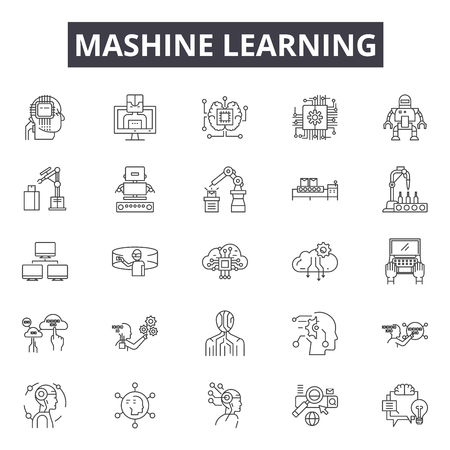 Mashine learning line icons, signs set, vector. Mashine learning outline concept illustration: success,education,concept,background,document,learning,online