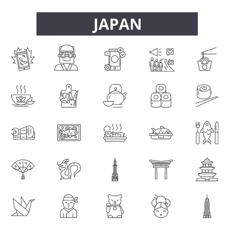Japan line icons, signs set, vector. Japan outline concept illustration: japan,japanese,culture,asia,travel,asian Иллюстрация