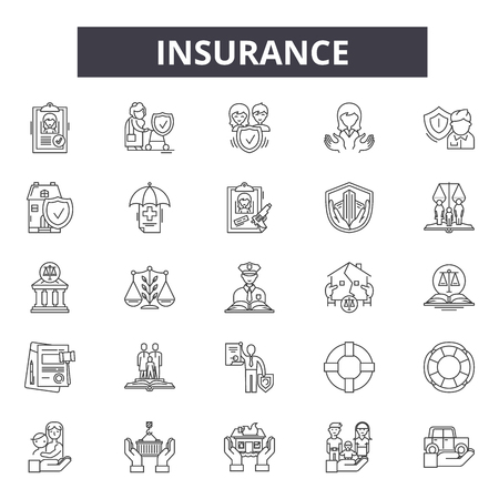 Insurance line icons, signs set, vector. Insurance outline concept illustration: protection,insurance,care,family,health,life,shield