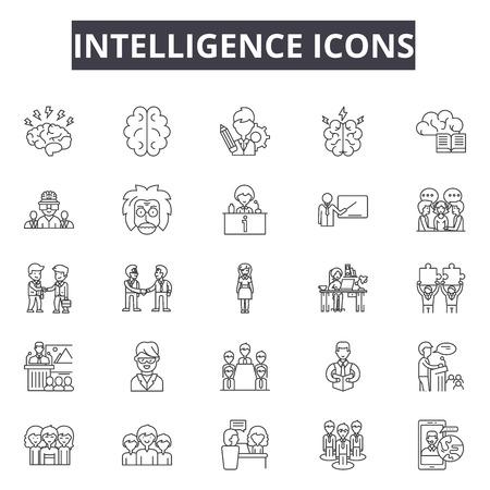 Icônes de ligne de renseignement, ensemble de signes, vecteur. Illustration de concept de contour d'intelligence : cerveau, intelligence, artificielle, technologie, puce, science Vecteurs