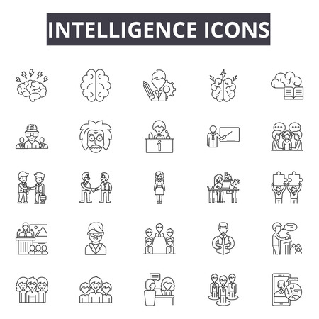 Intelligence line icons, signs set, vector. Intelligence outline concept illustration: brain,intelligence,artificial,technology,chip,science